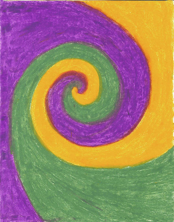 Spiral Art Print featuring the painting Three Ways Gather Energy by Carrie MaKenna