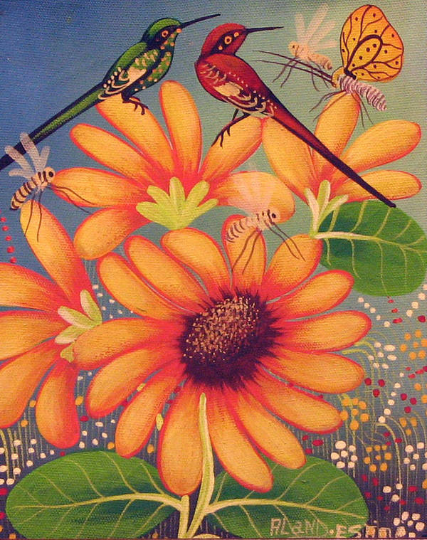 Haitian Art Print featuring the painting Twin Birds by Aland Estim