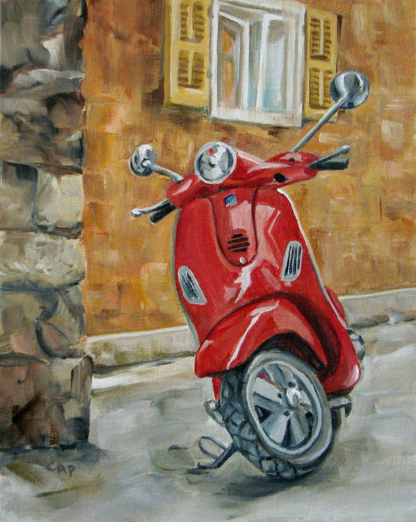 Vespa Art Print featuring the painting Vespa 4 by Cheryl Pass