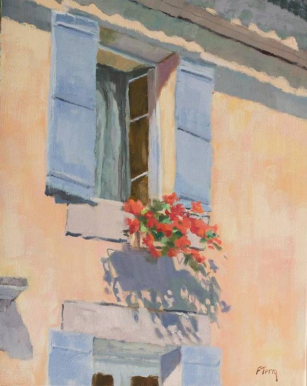 France Art Print featuring the painting Windowbox Flowers by Fay Terry