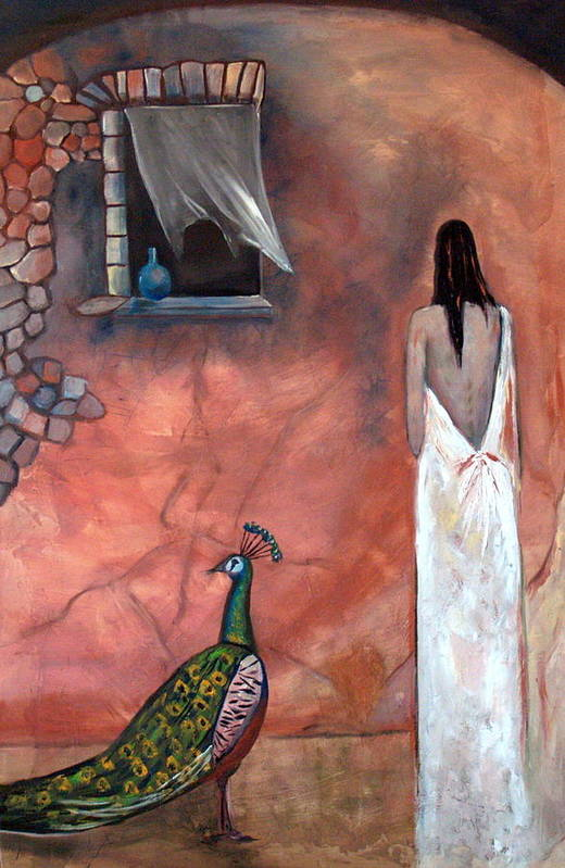 Woman Peacock Window Old Wall Red Orange Art Print featuring the painting Abeyance by Niki Sands
