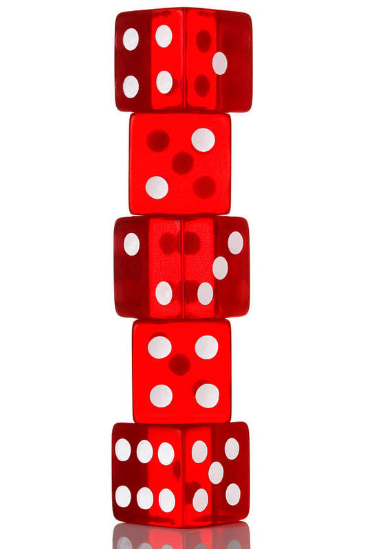 Dice Art Print featuring the photograph Five Dice Stack by Richard Thomas