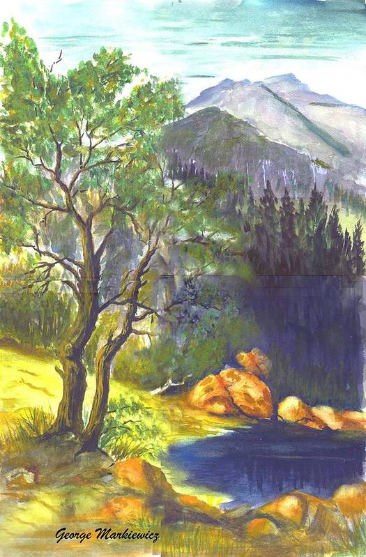 Landscape With Mountians Art Print featuring the print Mountain Sun by George Markiewicz