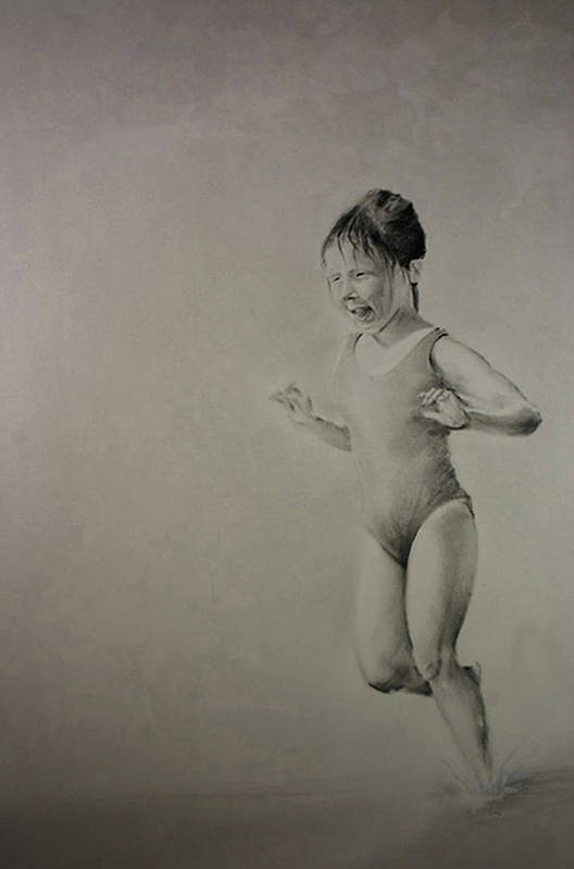 Children Art Print featuring the drawing Running On Water by John C