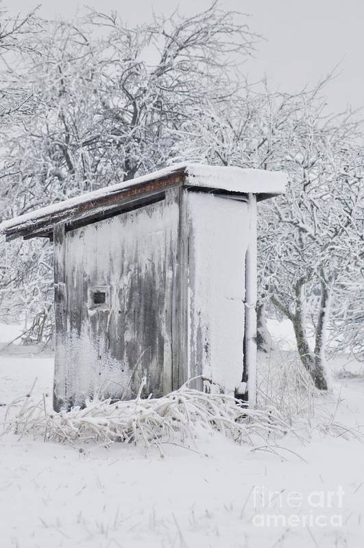 Outhouse Art Print featuring the photograph The Coldest Fifty Yard Dash by Benanne Stiens
