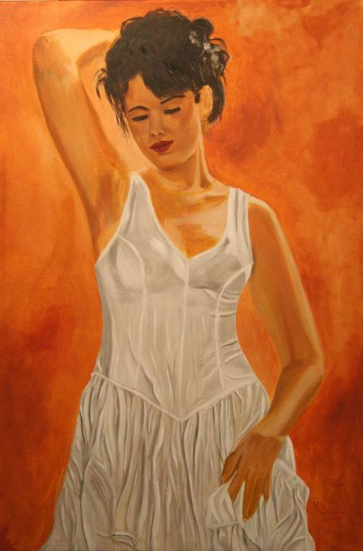 Woman Art Print featuring the painting Thoughtful Moment by Robert Tower