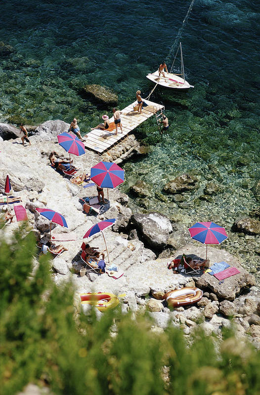 People Art Print featuring the photograph Porto Ercole 3 by Slim Aarons