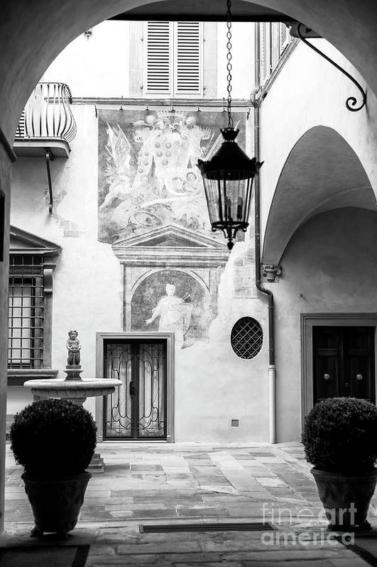 Art Art Print featuring the photograph Art In The Courtyard Florence by John Rizzuto
