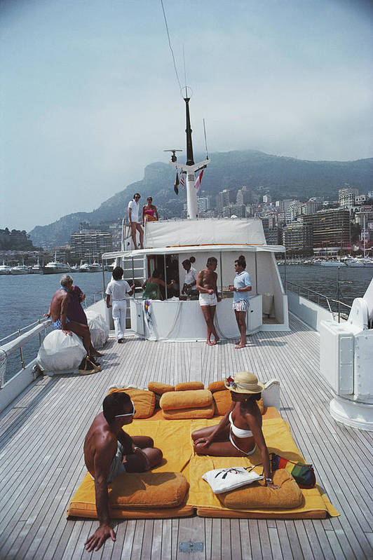 1980-1989 Art Print featuring the photograph Scottis Yacht by Slim Aarons