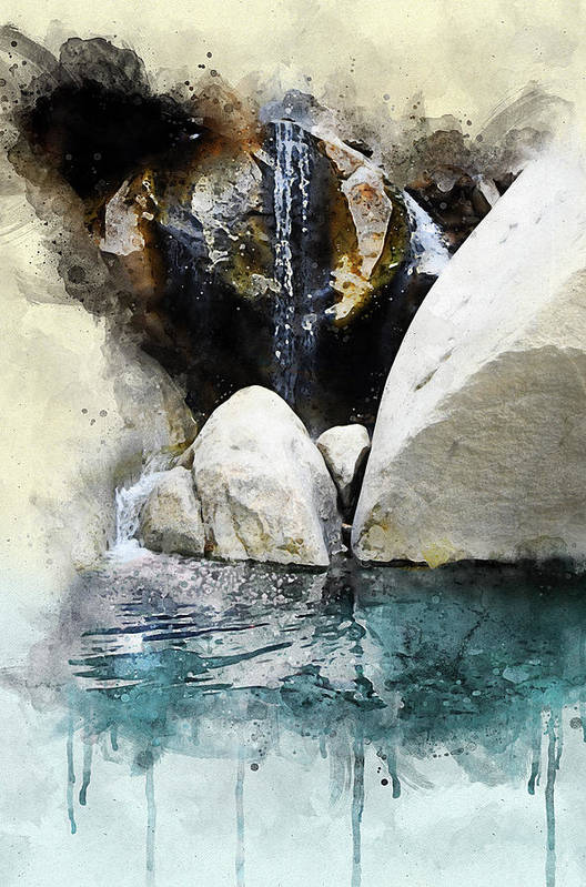 Waterfall in Palm Canyon by Ron Regalado