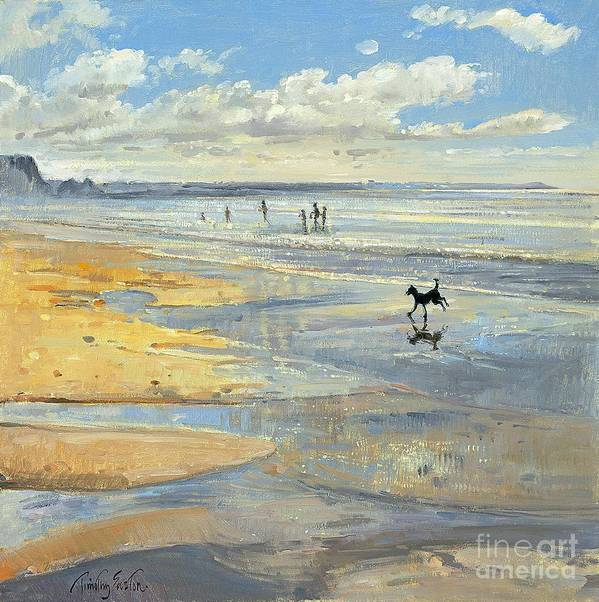 20th; Beach; Seaside; Low Tide; Dog; Running; Playing; Sand; Coast Art Print featuring the painting The Little Acrobat by Timothy Easton
