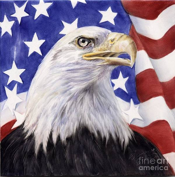 Eagle Art Print featuring the painting United We Stand? by Summer Celeste