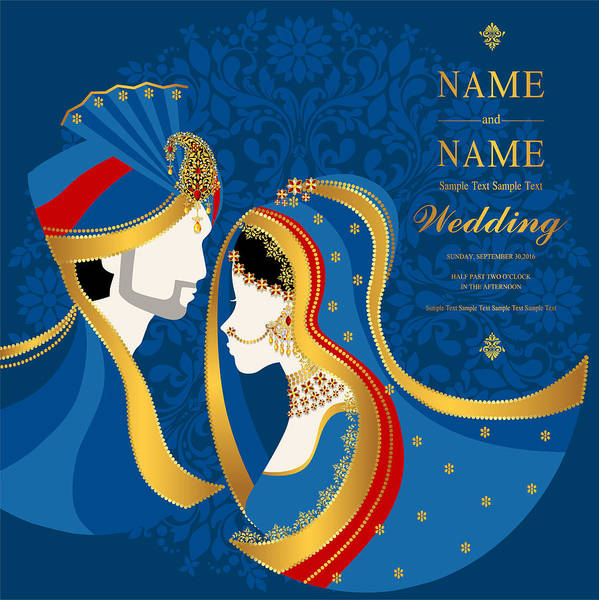Wedding Invitation Card Templates With Indian Man And Women In Traditional Clothes On Paper Color Background Art Print