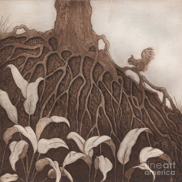 Tree Art Print featuring the relief Nut Maze by Suzette Broad