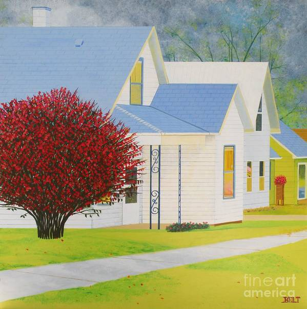 Autumn Art Print featuring the painting Autumn In Nebraska City by Christine Belt