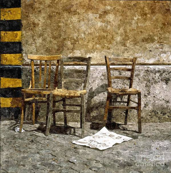 Chairs Art Print featuring the photograph 3 Sedie Pittura A Olio by Giuseppe Cocco