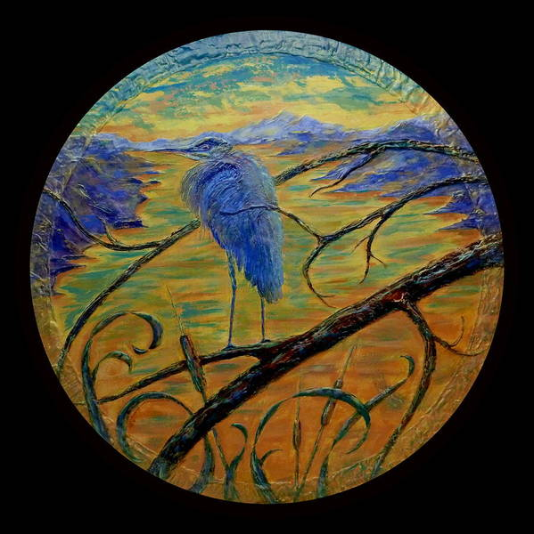 Blue Heron Art Print featuring the painting Earth Light Series by Len Sodenkamp