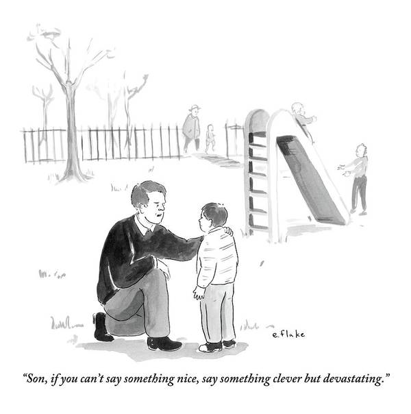 Advice Art Print featuring the drawing A Father Encourages His Son At The Playground by Emily Flake