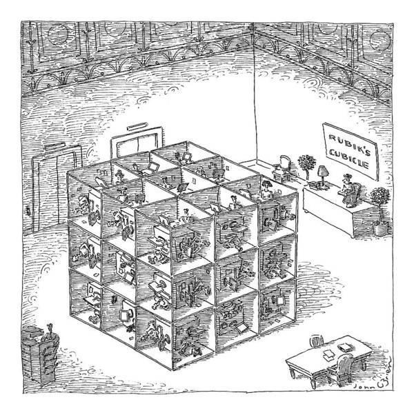 Captionless. Sign: Art Print featuring the drawing A Rubik's Cube Comprised Of Cubicles With Workers by John O'Brien