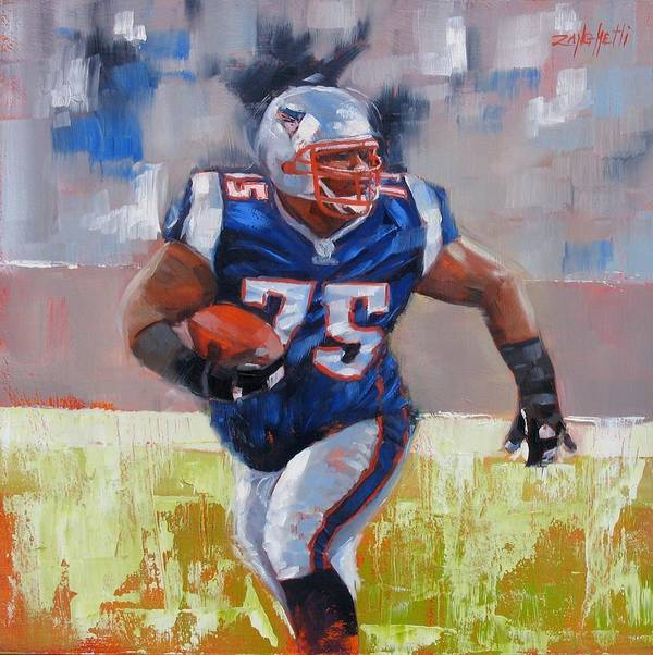 Vince Wilfork Print featuring the painting A Well Conditioned Athlete by Laura Lee Zanghetti