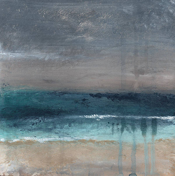 Abstract Landscape Art Print featuring the painting After The Storm- Abstract Beach Landscape by Linda Woods