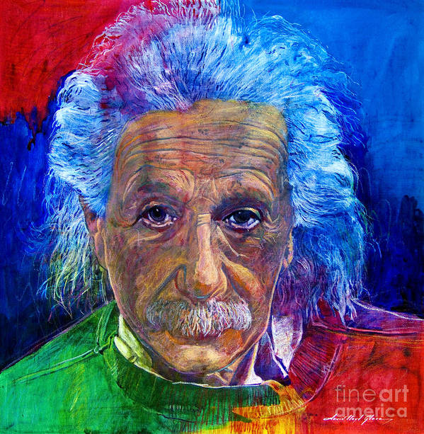 Albert Einstein Print featuring the painting Albert Einstein by David Lloyd Glover