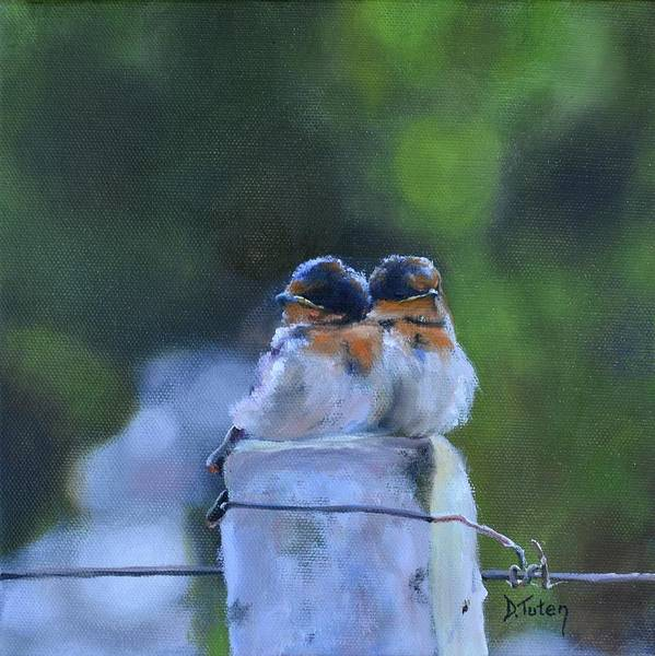 Swallow Art Print featuring the painting Baby Swallows On Post by Donna Tuten