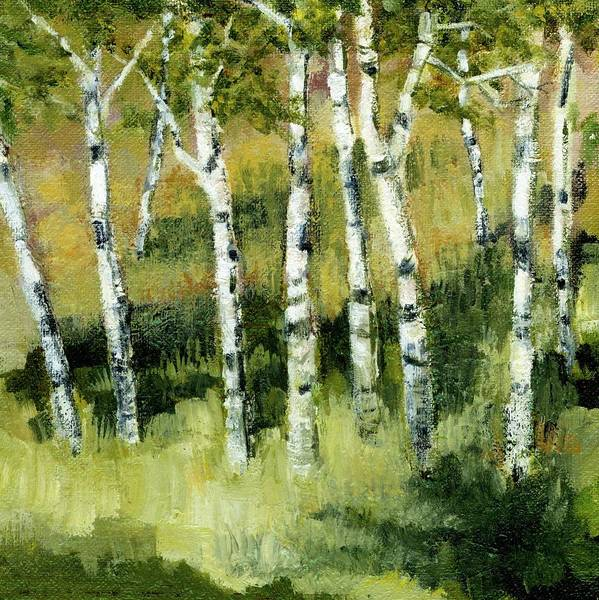 Trees Print featuring the painting Birches On A Hill by Michelle Calkins