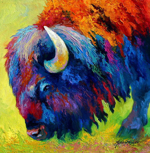 Wildlife Art Print featuring the painting Bison Portrait II by Marion Rose