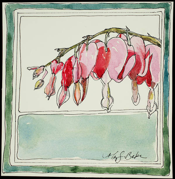 Watercolor Print featuring the painting Bleeding Hearts II by Mary Benke