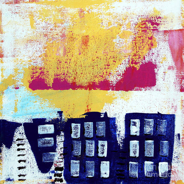 Abstract Urban Landscape Art Print featuring the painting Blue Buildings by Linda Woods