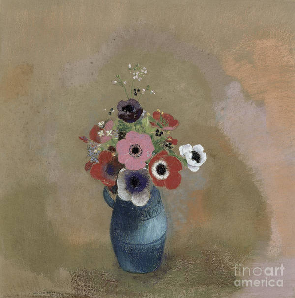 Still Life; Blue Jug; Vase Print featuring the painting Bouquet Of Anemones by Odilon Redon
