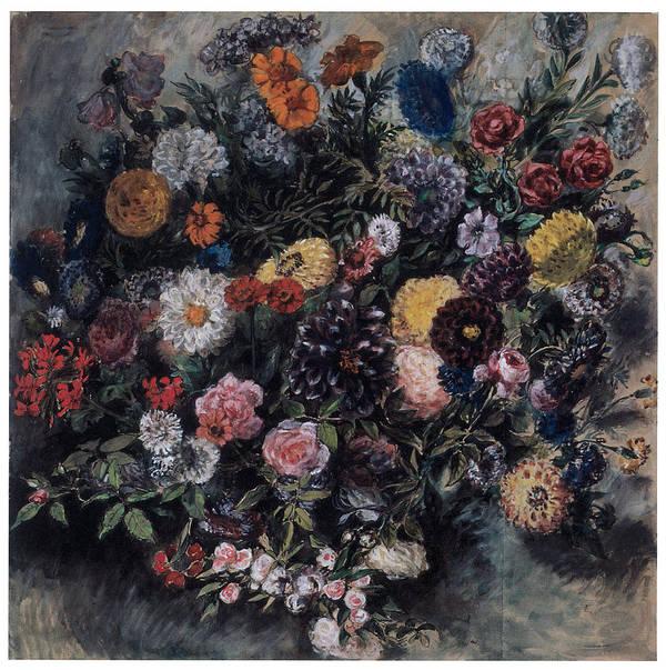 Eugene Delacroix Art Print featuring the painting Bouquet Of Flowers by Eugene Delacroix