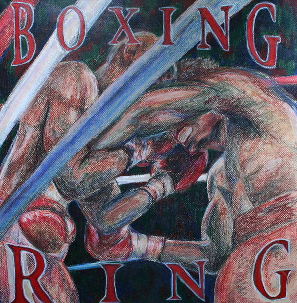 Boxing Art Print featuring the drawing Boxing Ring by Kate Fortin
