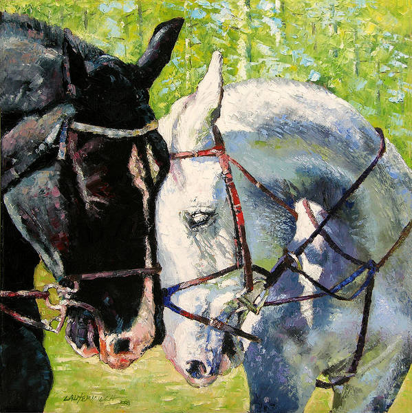 Horses Art Print featuring the painting Bridled Love by John Lautermilch