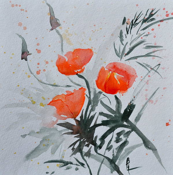 Poppy Art Print featuring the painting California Poppies Sumi-e by Beverley Harper Tinsley