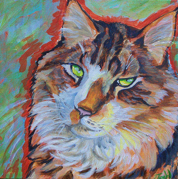 Cat Art Print featuring the painting Cat Commission by Jenn Cunningham