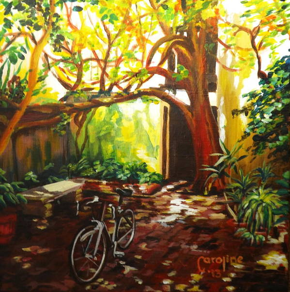 St. Augustine Art Print featuring the painting Charlotte Street Courtyard by Caroline Conkin