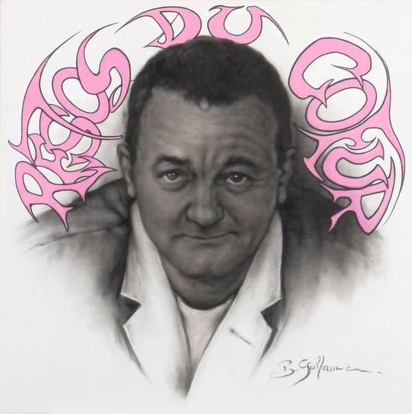 Coluche Print featuring the drawing Coluche by Guillaume Bruno