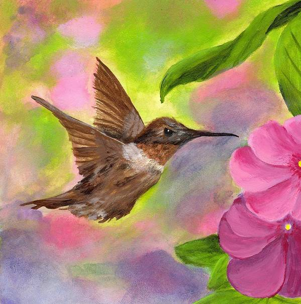 Hummingbird Art Print featuring the painting Connie's Hummingbird by Wanda Pepin
