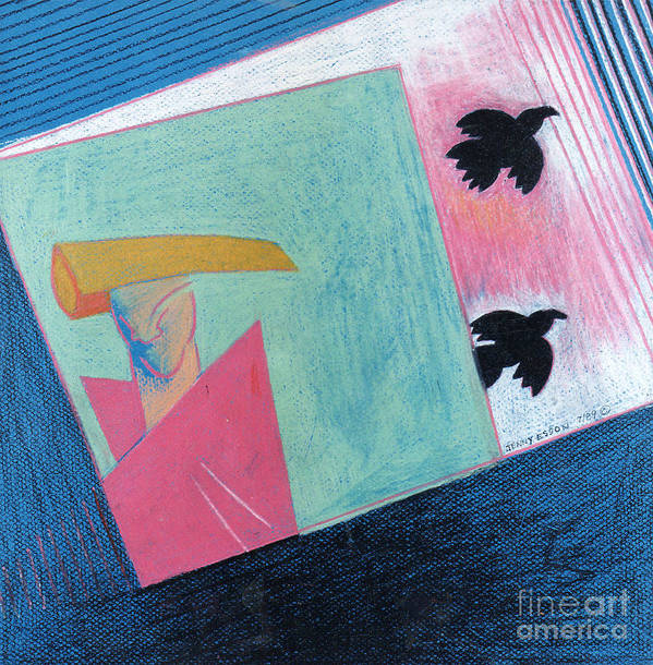Abstract Art Print featuring the painting Crows And Geometric Figure by Genevieve Esson