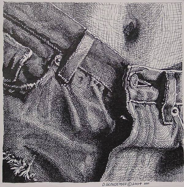 Figurative Art Print featuring the drawing Denim by Denis Gloudeman