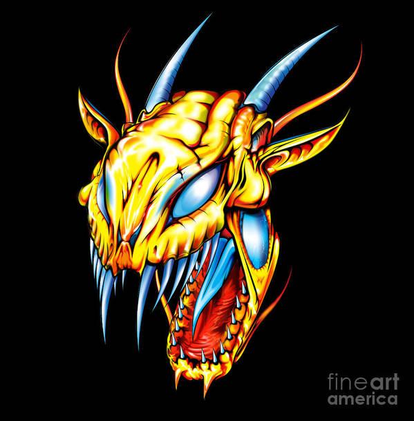 Dragon Art Print featuring the digital art Dragon Head by Brian Gibbs