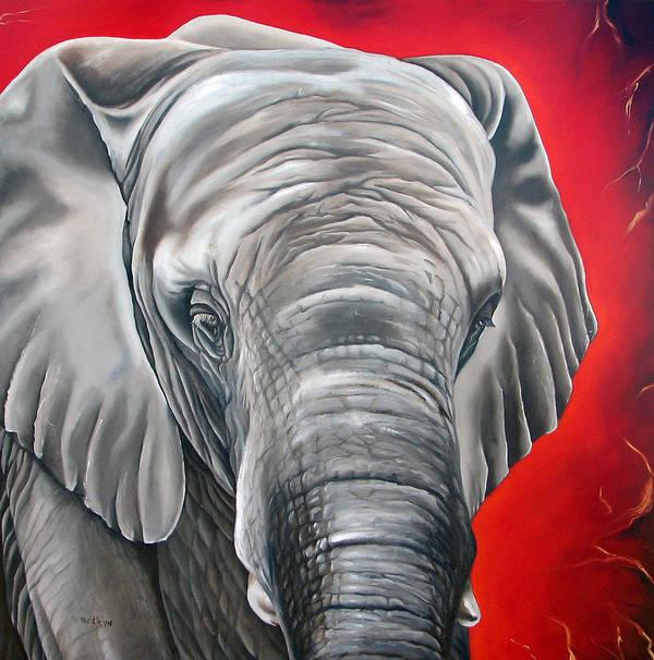 Elephant Art Print featuring the painting Elephant Six Of Eight by Ilse Kleyn