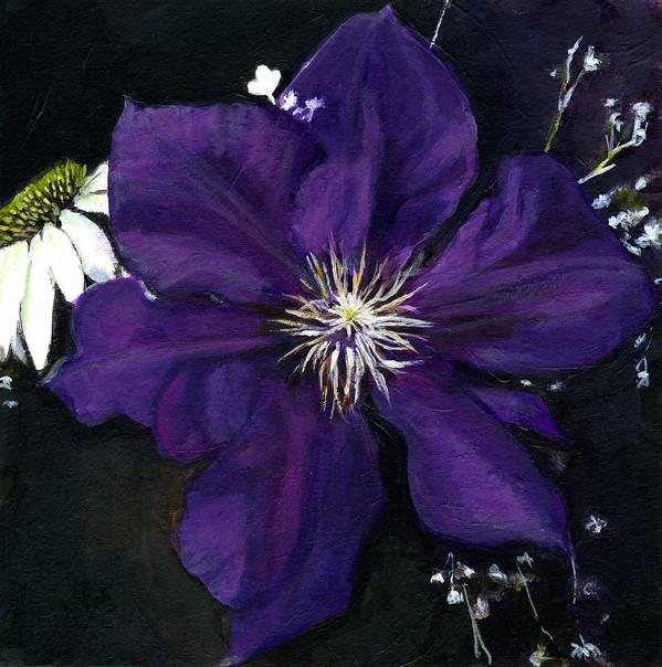 Clematis Art Print featuring the painting Etoile Violette - Clematis by Jean Beal