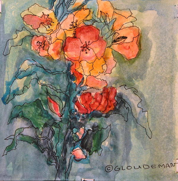 Flowers Art Print featuring the painting Flowers#1 by Denis Gloudeman
