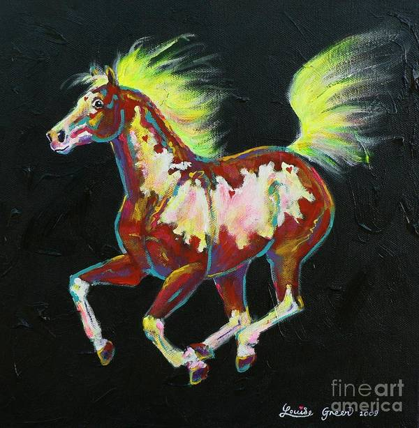 Heart Art Print featuring the painting Four Of Hearts Pony by Louise Green