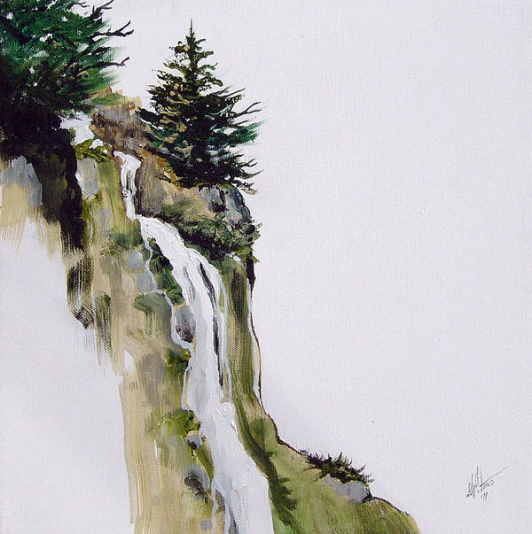 Landscape Art Print featuring the painting Freefall by Gregory Peters