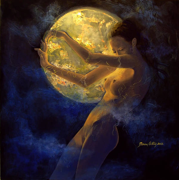 Woman Art Print featuring the painting Full Moon by Dorina Costras
