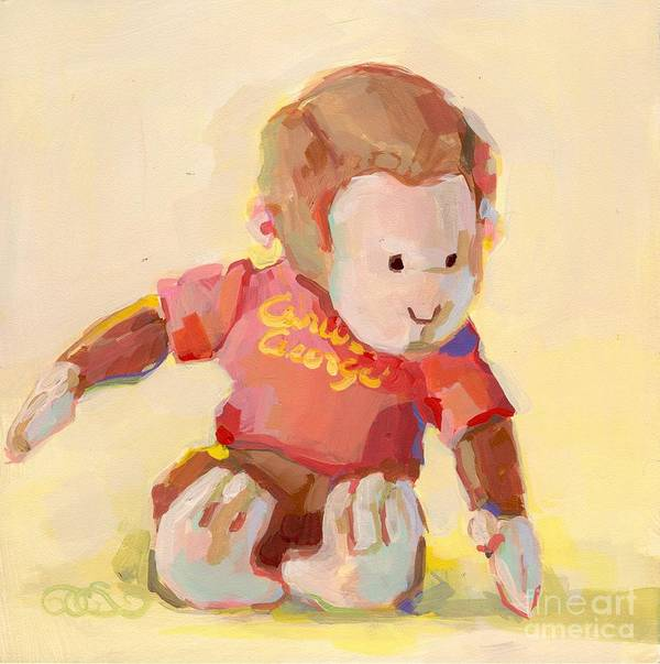 Curious George Art Print featuring the painting George by Kimberly Santini